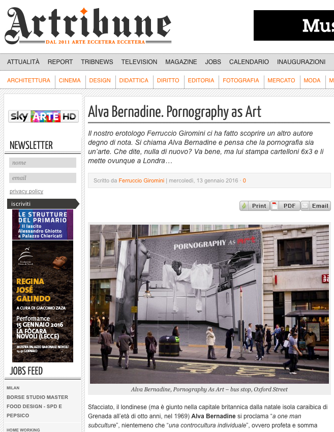 Artribune feature on Alva Bernadine